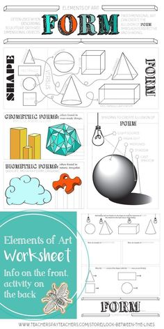This mini visual art lesson covers the element of art, form. It shows examples of irregular form, organic form, form vs. shape, and creating form using value. Elements Of Design Form, Elements Of Art Texture, Elements Of Art Space, Formal Elements Of Art, Pop Art, Visual Art Lessons, 3rd Grade Art Lesson, Art Test, Art Worksheets