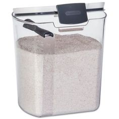 Store and measure flour worry-free and mess-free with the stylish Progressive Flour Prokeeper. This clear container features a hinged lid with an airtight silicone seal and a removable dusting spoon and leveling spoon for easy measuring. Flour Storage Container, Sugar Container, Food Storage Containers, Kitchen Containers, Sugar Storage, Bread Storage, Baking Storage, Spice Storage, Unique Gadgets