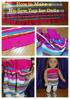 How to make an easy no sew doll top - day 38 of 100 Days of Doll Play