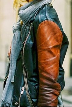 Double Tone Leather Jacket With Scarf. #must #jacket