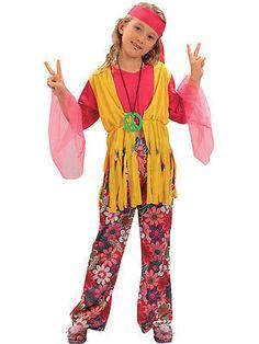 95a2e553882c Hippy Kids Girls Costume 1960s Hippie 60s 70s Childs Fancy Dress Up 3-13  Go-Go   Girls' Fancy Dress   Fancy Dress