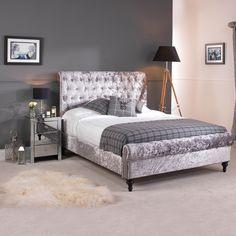 GO1220G-6 Super King Size Grey Premium Crushed Velvet Upholstered Chesterfield Bed