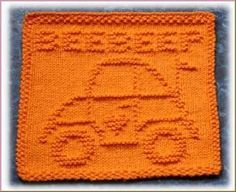 Luv Bug Free Knit Dishcloth Pattern, with link at bottom of page for many more patterns. Click see my designs