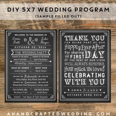 Customize your own wedding program with these printable templates!  ahandcraftedwedding.com #wedding #chalkboard