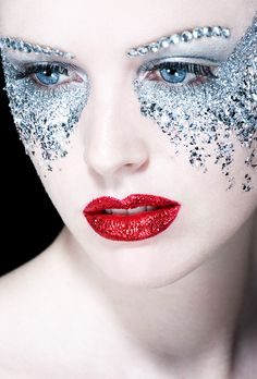 Pamella - Model Hallie - This is just inspiration, I am thinking a very bold face mask but not a full mask on Hallie. MakeUp- Jeweled Glitter Eyes' - Red Lips - Ice queen