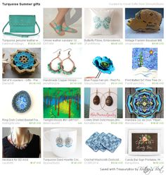 Turquoise Summer Gifts by ShmulikStudio.  Thanks for including our butterfly pillow!  etsy.me/1FJwGjy