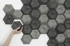 """edgy room shaping tiles by Patrycja Domanska - """"edgy"""" is a three-dimensional tile. The aim was to provide an alternative to the flat, two dimensional walls in bathrooms and other living quarters . The form is made up of asymmetrical surfaces, """"folding"""" onto one plane, to form a hexagonal base."""