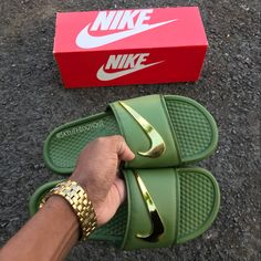 best sneakers 1ab63 c82e3 Nike Benassi Swoosh - Golden Check Slides Royal UNISEX - Size up one for  men - Down one for women. Price to be determined. This is a custom color  and ...