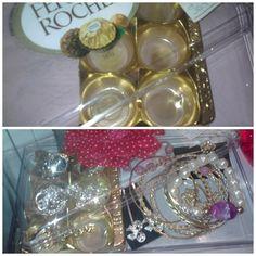 Porta -jóias feito com embalagem de chocolates. Ioná A.