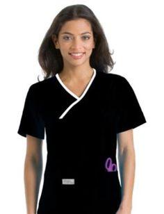 8dd1667e42c229 Tops 105440  Urbane Scrubs 9534 Womens Double Pocket Crossover Top