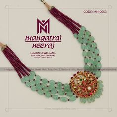 Vibrant Emerald Jewellery Sets That Can Take Your Breath Away Beaded Jewelry Designs, Gold Jewellery Design, Bead Jewellery, Jewelry Patterns, Latest Jewellery, Temple Jewellery, Diamond Jewellery, India Jewelry, Jewelry Sets