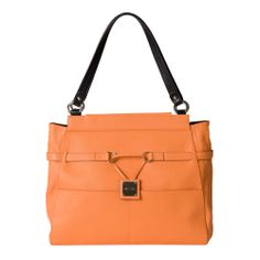 Don't you love the first sweet bite of a just-picked cantaloupe? Orange in all its shades is the perfect accent color to brighten your wardrobe and makes you feel refreshed all day long. The Colton for Prima Miche bags features pebble-grain textured faux leather with illusion band detailing and chic drop plate logo. Silver hardware and two flat front pockets. *Miche Canada* #miche #michecanada #michefashion #fashion #style #purses #handbags #accessories
