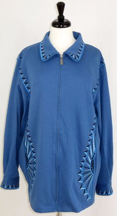 Bob Mackie Wearable Art Jacket Blue Navy Southwest Size 2X #BobMackie…