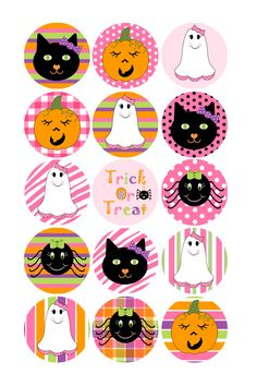 17ceb7f6bab Items similar to Halloween Bottlecap Images Hallo-Pink-O-Ween 1 Inch  Circles for Bottlecaps Bottle Caps Hairbows Jewelry Magnets and More  INSTANT DOWNLOAD ...