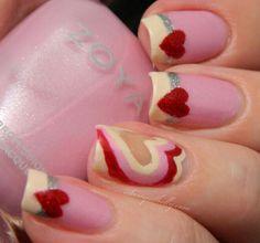 Valentines Day Mani ~ Peek-a-boo hearts with Zoya Nail Polish