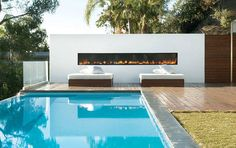 Outdoor fire place, black coping with decking