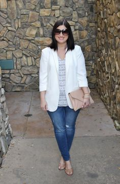 White blazer + floral cami + light distressed jeans + nude accessories