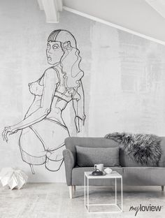 NUDES is our special collection of minimalistic drawings inspired by the beauty of women's body Wall Murals, Wall Art, Female Bodies, Street Art, Pin Up, Minimalist, Nudes, Drawings, Art Decor