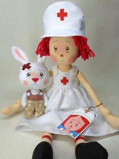SOFT CLOTH DOLL RAGGEDY ANN ~ ANNIE NURSE SAVE BUNNY by ANNIEPRIMDOLLS