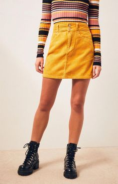 Pay homage to fashion in the Corduroy Skirt by PacSun. This trendy mini skirt is made from a corduroy fabric and boasts a body and duo button front closure. Long Skirt Outfits For Summer, Yellow Skirt Outfits, Jean Skirt Outfits, 70s Outfits, Pencil Skirt Outfits, Casual Skirt Outfits, Club Outfits, Yellow Denim Skirt, Yellow Skirts