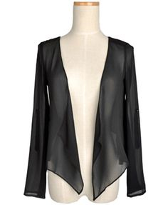 Black Chiffon Jackets with Drape Open Front
