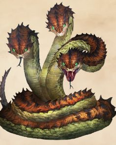 These three headed snakes, grew massive, and can speak through magic of the lands, they protect the castle of Roma in the Jungle Monster Art, Monster Concept Art, Fantasy Monster, Monster Hunter, Fantasy Wesen, Fantasy Beasts, Mythical Creatures Art, Mythological Creatures, Creature Drawings