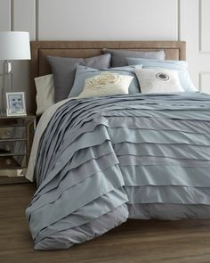 """""""Belgravia"""" Ice Blue Bed Linens by Blissliving at Horchow."""