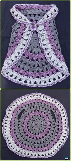 DIY Crochet Circle Block Vest Free Pattern -Crochet Little Girl Circle Vest Sweater Coat Free Patterns. - Crochet and Knit Little+Girl+Crochet+Patterns+Free Crochet For Kids, Diy Crochet, Crochet Crafts, Crochet Projects, Simple Crochet, Crochet Ideas, Sewing Projects, Crochet Tops, Sewing Ideas
