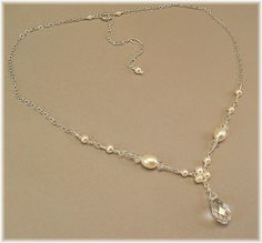 Trinity Pearl Necklace with Crystal Teardrop, Delicate Necklaces, Dainty Necklaces, Choice of 14K Gold Filled, White or Ivory Pearls $31