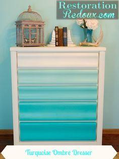 Turquoise Ombre Painted Dresser ; coastal furniture diy dresser redo. http://www.restorationredoux.com/?p=5802