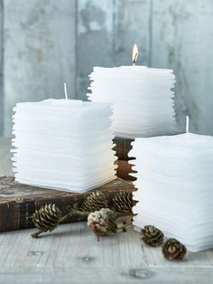 Graceful Layered Candle #NordicHouse #candles #layered shape candle into pillow and scent fresh linen