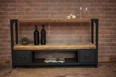 Mesa De Tv Industrial Cajones Metálicos Industrial, New Homes, Shelves, House Styles, Metal, Warehouse, Home Decor, Curly, Home Furniture