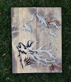 Elk and Mountains Nail and String Art Sign by BrittonCustomDesigns on Etsy https://www.etsy.com/listing/256274378/elk-and-mountains-nail-and-string-art