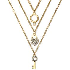 Decree 3-pc. Choker Necklace Set ($7.50) ❤ liked on Polyvore featuring jewelry, necklaces, long choker necklace, heart shaped necklace, chain link necklace, lock necklace y heart choker