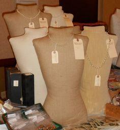 Burlap mannequin, dressform, torso, handmade jewelry display   starshinesalon - Jewelry on ArtFire