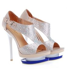 Jeweled Cut-Out Platform Heels in silver grey. 14cm heel. An absolute steal at $139.99
