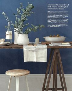 Looks like my color of paint in my living room love the color combo! Natural and rustic dining. Styling by Emma Clayton My Living Room, Home And Living, Dark Blue Walls, Grey Walls, Home Interior, Interior Design, White Vases, Decoration Table, Rustic Industrial