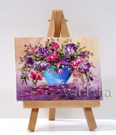 Flower Bouquet 3x4 miniature painting all by valdasfineart on Etsy