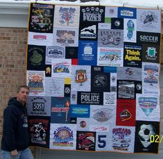 shirt Quilt Too Cool T shirt Quilts Gallery MQR Forums Hanging Quilts, Quilted Wall Hangings, Fabric Crafts, Sewing Crafts, Sewing Projects, Owl T Shirt, Tee Shirt, College T Shirts, Christmas Signs