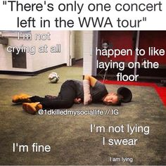 I just happen to be lying on the floor in a puddle of tears Love Ya, So Much Love, 1d Tour, Where We Are Tour, What Makes You Beautiful, Five Guys, One Day I Will, I Love One Direction, To Infinity And Beyond