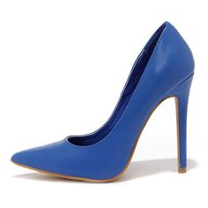 Click Your Heels Blue Pointed Pumps (935 RUB) ❤ liked on Polyvore featuring shoes, pumps, heels, blue, stiletto pumps, pointed toe high heel pumps, blue pumps, blue shoes and high heel stilettos