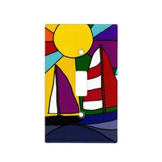 Colorful Sailboat Art Abstract Switch Plate Covers #sailboat #art #lightswitchplate #sailing And www.zazzle.com/tickleyourfunnybone*