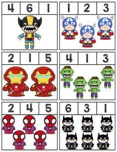 12 Clip cards featuring superheroes to help teach numbers Super easy prep! Preschool Curriculum, Preschool Lessons, Preschool Worksheets, Kindergarten Activities, Preschool Activities, Superhero Kindergarten, Superhero Classroom, Super Hero Activities, Batman Comic Art