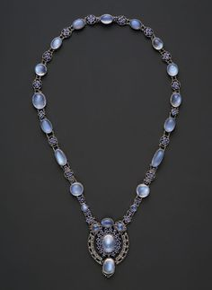Necklace with pendant, ca. 1910 Louis Comfort Tiffany (1848–1933) Moonstones, Montana sapphires, platinum, L. 27 in. (68.6 cm) The Metropolitan Museum of Art, New York