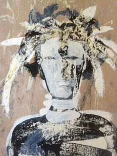 """Skot Foreman Gallery Chrissy Dolan Terrasi """"Portrait of the Artist I"""" 2013 Mixed media on French craft paper    44 x 36 in  112 x 91 cm Hand-signed verso"""