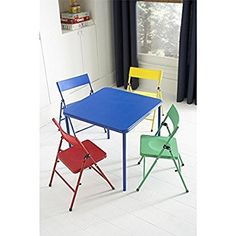 Kid's 5-piece Colored Folding Chair and Table Set
