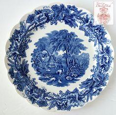 Vintage Blue Transferware Dinner Plate Grapes Vines Hunter Cottage Hor