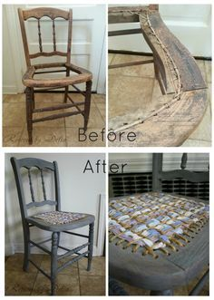 Raggedy-Chic Chair Furniture redo - vintage chair, Slate Grey milk paint, Old Fashioned Milk Paint Company, rope and rag woven seat. So pretty! Diy Furniture Chair, Ikea Chair, Furniture Repair, Diy Chair, Repurposed Furniture, Furniture Makeover, Chair Redo, Furniture Ideas, Modern Furniture