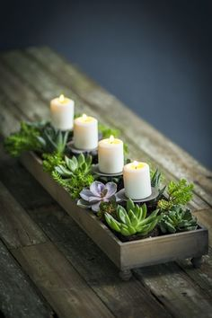 Our votive candle centerpiece is handmade from recycled pine. For more centerpiece planters visit Antique Farmhouse. Succulent Centerpieces, Candle Centerpieces, Christmas Centerpieces, Candles, Graduation Centerpiece, Simple Centerpieces, Centerpiece Ideas, Wedding Centerpieces, Dining Room Table Centerpieces