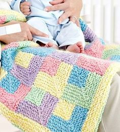 Free knitting pattern for Baby Rainbow Quilt and more baby blanket knitting patterns